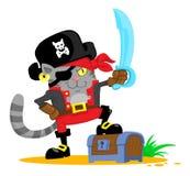 Χαριτωμένη γάτα κινούμενων σχεδίων στο κοστούμι πειρατών Στοκ Εικόνες