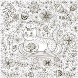 Χαριτωμένη γάτα με μια σφαίρα του νήματος και doodle των λουλουδιών Στοκ Φωτογραφία