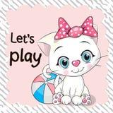 Χαριτωμένη γάτα με μια σφαίρα διανυσματική απεικόνιση