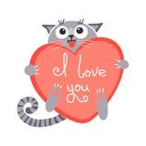 Χαριτωμένη γάτα πιπεροριζών κινούμενων σχεδίων με την καρδιά και τη δήλωση Στοκ Φωτογραφία