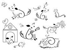 Χαριτωμένη γάτα, σκυλί, πεταλούδα και ποντίκι χαρακτήρα ζώων Στοκ Φωτογραφία
