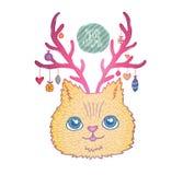 Χαριτωμένη γάτα Χριστουγέννων κινούμενων σχεδίων με τα κέρατα ελαφιών Στοκ Εικόνα