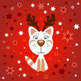 Χαριτωμένη γάτα Χριστουγέννων κινούμενων σχεδίων με τα κέρατα Στοκ φωτογραφία με δικαίωμα ελεύθερης χρήσης