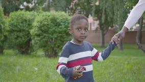 Χαριτωμένη γυναίκα αφροαμερικάνων που περπατά στο πάρκο με την λίγο γιο, που κρατά τα χέρια Χαριτωμένος χρόνος εξόδων παιδιών υπα φιλμ μικρού μήκους