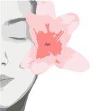 Χαριτωμένη γυναίκα με το λουλούδι Στοκ Εικόνα