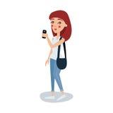 Χαριτωμένη γυναίκα σπουδαστής στα περιστασιακά ενδύματα που στέκονται και που κρατούν έναν κινητό τηλεφωνικό χαρακτήρα κινουμένων Στοκ εικόνα με δικαίωμα ελεύθερης χρήσης