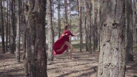 Χαριτωμένη γυναίκα στο κόκκινο φόρεμα που χορεύει στο δασικό τοπίο Όμορφος σύγχρονος χορευτής Χαριτωμένα τρεξίματα και άλματα κορ φιλμ μικρού μήκους