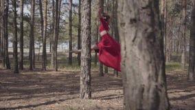 Χαριτωμένη γυναίκα στο κόκκινο φόρεμα που χορεύει στο δασικό τοπίο Όμορφος σύγχρονος χορευτής Χαριτωμένα τρεξίματα και άλματα κορ απόθεμα βίντεο