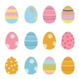 Χαριτωμένη διακοσμημένη συλλογή αυγών Πάσχας διανυσματική απεικόνιση