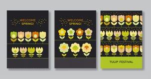 Χαριτωμένη διακοσμητική αφίσα λουλουδιών που τίθεται για τον Ιστό και την τυπωμένη ύλη Στοκ εικόνες με δικαίωμα ελεύθερης χρήσης