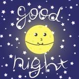 """Χαριτωμένη διανυσματική απεικόνιση με το αστεία φεγγάρι, τα αστέρια και την επιγραφή """"καληνύχτα """" ελεύθερη απεικόνιση δικαιώματος"""