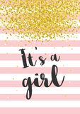 Χαριτωμένη διανυσματική απεικόνιση ντους μωρών Σκοτεινές γκρίζες επιστολές κορίτσι s Ρόδινα λωρίδες με το χρυσό κομφετί στο άσπρο απεικόνιση αποθεμάτων