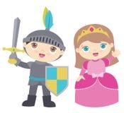 Χαριτωμένη διανυσματική απεικόνιση πριγκηπισσών ιπποτών και κοριτσιών μικρών παιδιών που απομονώνεται στο λευκό Στοκ Φωτογραφία