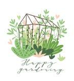 Χαριτωμένη διανυσματική εποχιακή ευχετήρια κάρτα - λουλούδια και εγκαταστάσεις ανάπτυξης στο θερμοκήπιο με την ευτυχή κηπουρική ` ελεύθερη απεικόνιση δικαιώματος