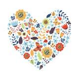 Χαριτωμένη εκλεκτής ποιότητας μορφή καρδιών με τα λουλούδια Στοκ Εικόνα