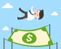 Χαριτωμένη ελεύθερη πτώση επιχειρηματιών από τον ουρανό με το τραπεζογραμμάτιο δολαρίων για το τοπικό LAN ελεύθερη απεικόνιση δικαιώματος
