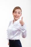 Χαριτωμένη επιχειρησιακή γυναίκα που χαμογελά για τη διαφήμισή σας στοκ εικόνες με δικαίωμα ελεύθερης χρήσης