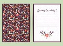 Χαριτωμένη ευγενής κάρτα με το floral σχέδιο Στοκ εικόνα με δικαίωμα ελεύθερης χρήσης