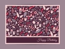 Χαριτωμένη ευγενής κάρτα με το floral σχέδιο Στοκ Εικόνες