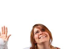 χαριτωμένη ευτυχής γυναί&kapp Στοκ εικόνες με δικαίωμα ελεύθερης χρήσης