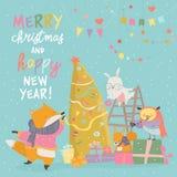 Χαριτωμένη ευχετήρια κάρτα Χριστουγέννων με τα ευτυχή ζώα απεικόνιση αποθεμάτων