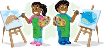 Χαριτωμένη ζωγραφική παιδιών Στοκ φωτογραφίες με δικαίωμα ελεύθερης χρήσης