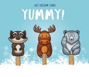 Χαριτωμένη ζωική απεικόνιση popsicles Διανυσματικό σύνολο παγωτού Στοκ Εικόνες