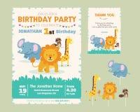 Χαριτωμένη ζωική πρόσκληση γιορτής γενεθλίων θέματος Στοκ φωτογραφία με δικαίωμα ελεύθερης χρήσης