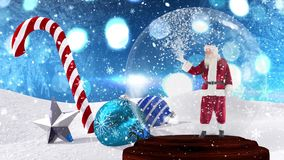 Χαριτωμένη ζωτικότητα Χριστουγέννων Άγιου Βασίλη στη σφαίρα χιονιού φιλμ μικρού μήκους