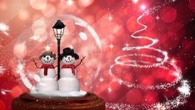 Χαριτωμένη ζωτικότητα Χριστουγέννων του ζεύγους χιονανθρώπων στη σφαίρα χιονιού ελεύθερη απεικόνιση δικαιώματος