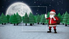 Χαριτωμένη ζωτικότητα Santa που παρουσιάζει διάστημα αντιγράφων για το μήνυμα Χριστουγέννων φιλμ μικρού μήκους