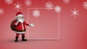 Χαριτωμένη ζωτικότητα Santa που παρουσιάζει διάστημα αντιγράφων για το μήνυμα Χριστουγέννων απόθεμα βίντεο