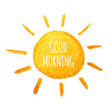 Χαριτωμένη ηλιοφάνεια κινούμενων σχεδίων Συρμένος χέρι ήλιος χαμόγελου απεικόνισης watercolor Στοκ Εικόνα