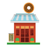Χαριτωμένη διανυσματική απεικόνιση κινούμενων σχεδίων ενός καταστήματος donuts Στοκ Φωτογραφίες