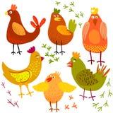 Χαριτωμένη διανυσματική απεικόνιση κοτόπουλου κινούμενων σχεδίων Στοκ Εικόνες