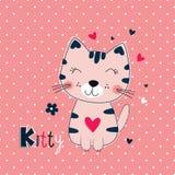 Χαριτωμένη διανυσματική απεικόνιση με την αστεία γάτα για το σχέδιο παιδιών Στοκ Εικόνες
