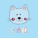 Χαριτωμένη διανυσματική απεικόνιση με την αστεία γάτα για το σχέδιο παιδιών Στοκ εικόνα με δικαίωμα ελεύθερης χρήσης