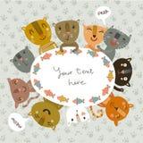 Χαριτωμένη διανυσματική κάρτα με τα αστεία γατάκια Στοκ Εικόνες