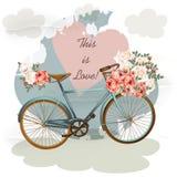 Χαριτωμένη διανυσματική πρόσκληση με το κίτρινα ποδήλατο και τα λουλούδια Στοκ Φωτογραφία