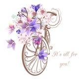 Χαριτωμένη διανυσματική πρόσκληση με το πλαστά ποδήλατο και τα λουλούδια Στοκ φωτογραφία με δικαίωμα ελεύθερης χρήσης