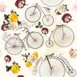 Χαριτωμένη διανυσματική πρόσκληση με το πλαστά ποδήλατο και τα λουλούδια διανυσματική απεικόνιση