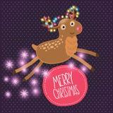 Χαριτωμένη κάρτα ελαφιών Χριστουγέννων κινούμενων σχεδίων Στοκ φωτογραφίες με δικαίωμα ελεύθερης χρήσης