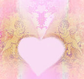 Χαριτωμένη κάρτα ημέρας βαλεντίνων με τα cupids Στοκ Φωτογραφίες