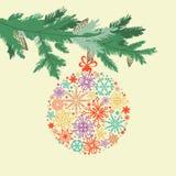 Χαριτωμένη κάρτα κλάδων χριστουγεννιάτικων δέντρων ελεύθερη απεικόνιση δικαιώματος