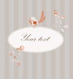 Χαριτωμένη κάρτα με τα πουλιά και τα λουλούδια Στοκ φωτογραφίες με δικαίωμα ελεύθερης χρήσης