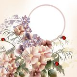 Χαριτωμένη κάρτα με τα ρεαλιστικά λουλούδια στο εκλεκτής ποιότητας ύφος Στοκ εικόνες με δικαίωμα ελεύθερης χρήσης