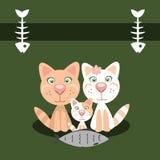 Χαριτωμένη κάρτα με τις οικογενειακές γάτες επίσης corel σύρετε το διάνυσμα απεικόνισης διανυσματική απεικόνιση