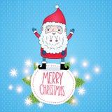 Χαριτωμένη κάρτα Χριστουγέννων Άγιου Βασίλη κινούμενων σχεδίων Στοκ Φωτογραφία