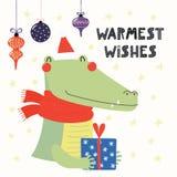 Χαριτωμένη κάρτα Χριστουγέννων κροκοδείλων απεικόνιση αποθεμάτων