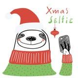 Χαριτωμένη κάρτα Χριστουγέννων νωθρότητας διανυσματική απεικόνιση